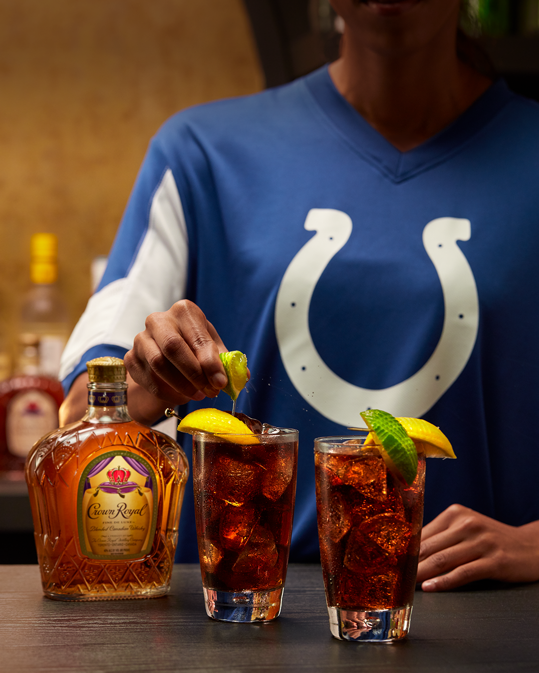 Indianapolis Colts (Crown and Cola) with a bottle of Crown Royal Deluxe