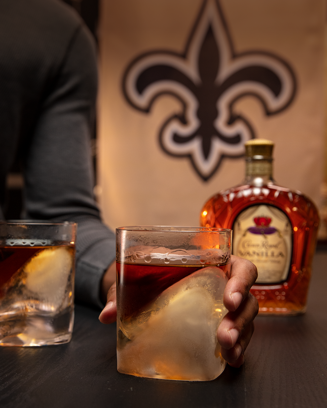 New Orleans Saints (Crown Vanilla on the Rocks) with a bottle of Crown Royal Vanilla