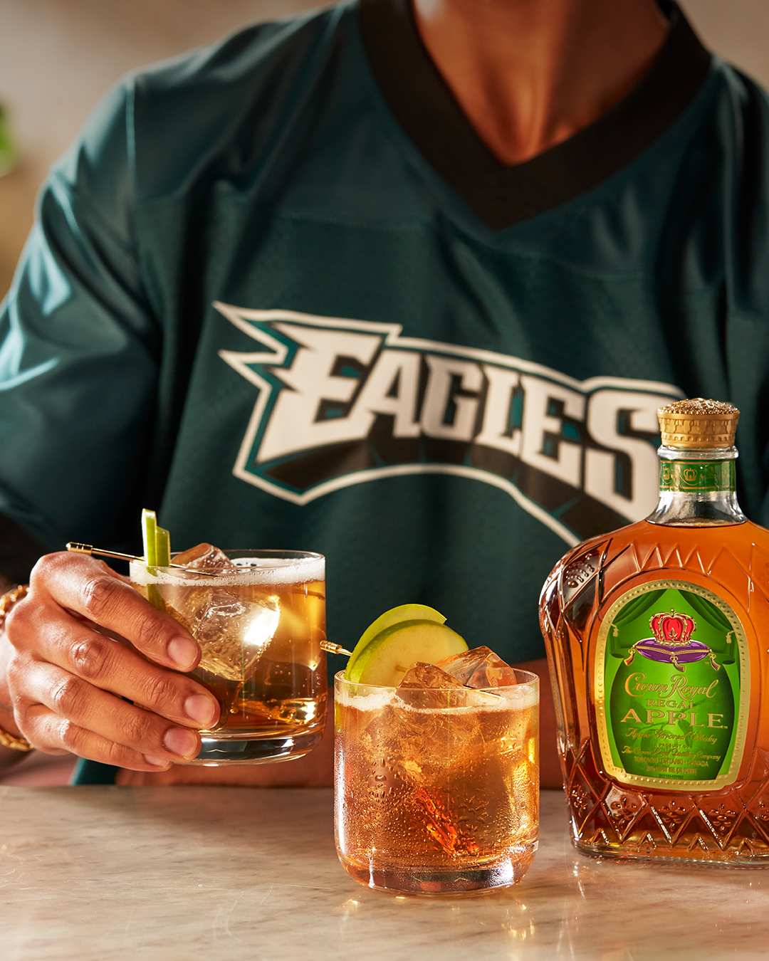Philadelphia Eagles (Crown Royal Apple + Ginger) with a bottle of Crown Royal Regal Apple